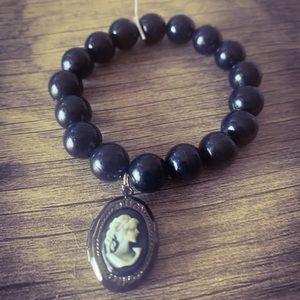 Vintage Wax Cameo Locket Beaded Bracelet